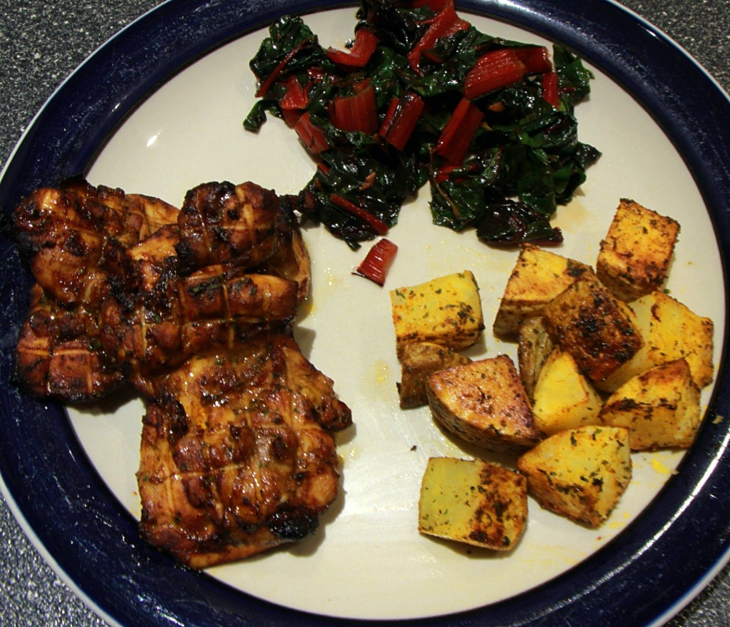 Oven-Grilled Chicken with Potato Wedges and Red Kale