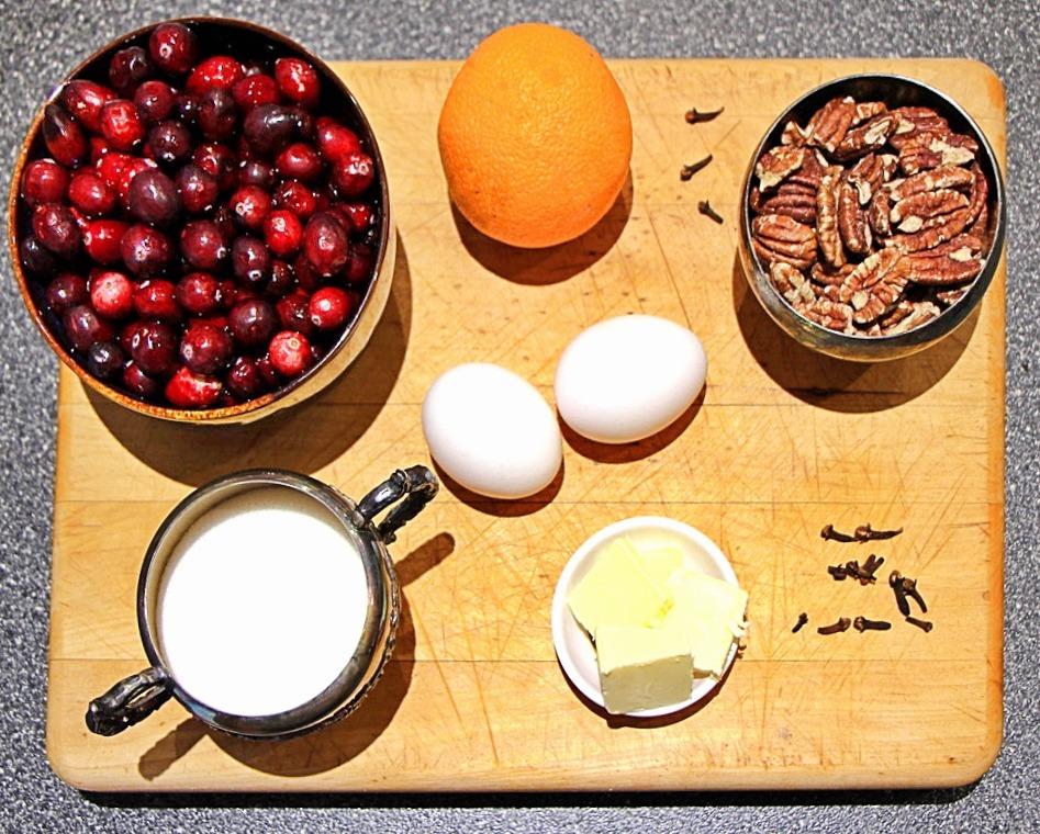 Cranberry Orange Pecan loaf ingredients