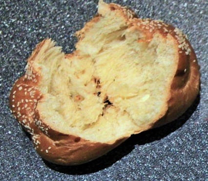 Challah bun ready for filling
