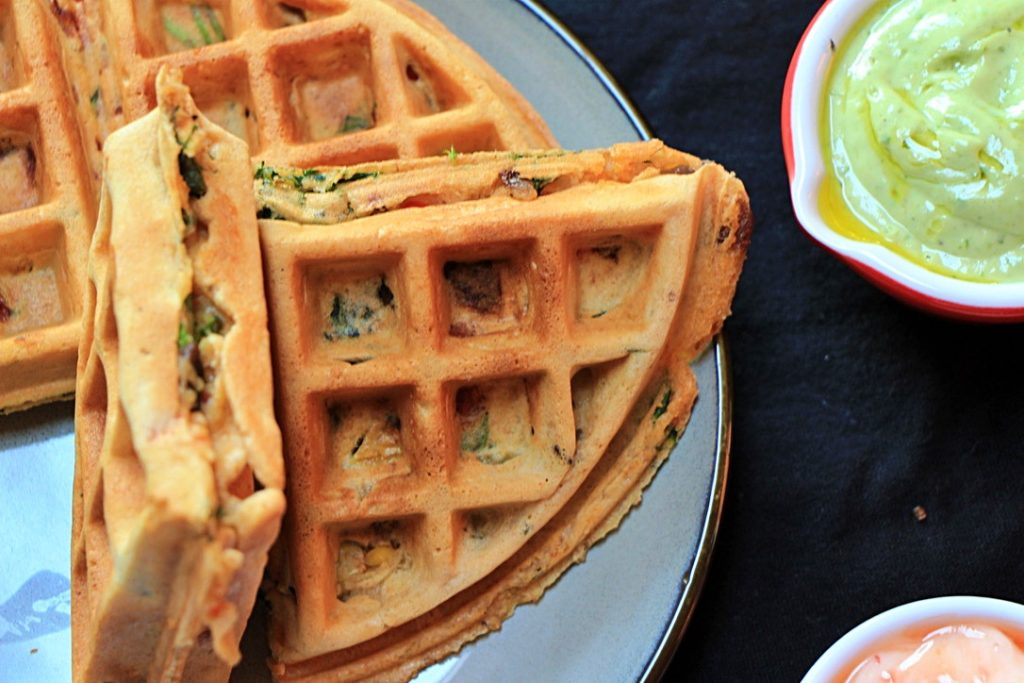 Savoury waffles close up