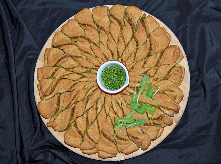 Baked arugula pesto bread pinwheel