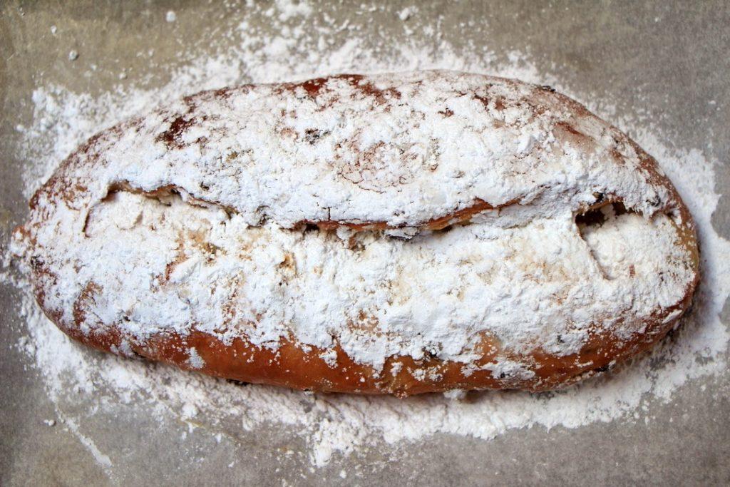 German stollen with icing sugar