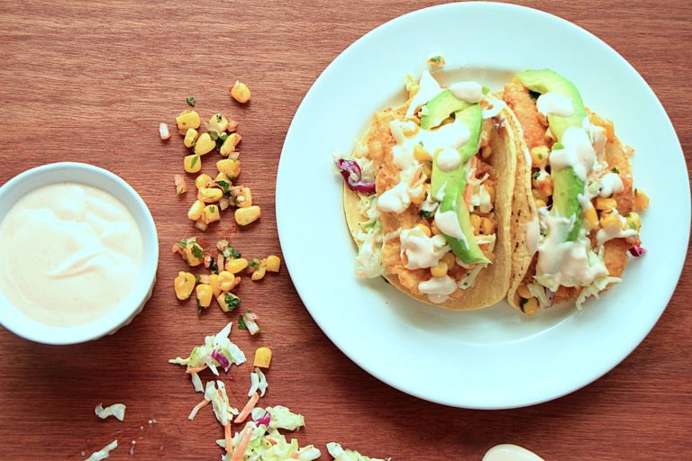Fish Tacos with Coleslaw and Corn