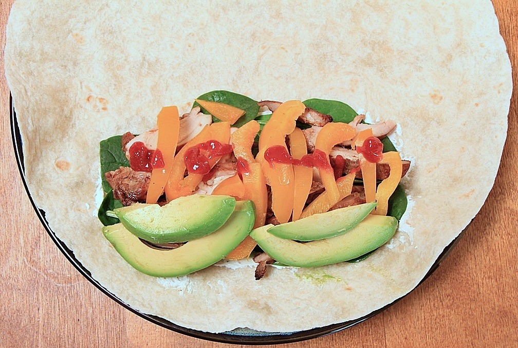 Wrap with avocado and hot sauce
