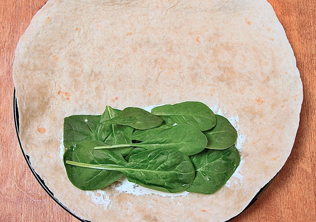 Wrap with cream cheese and spinach
