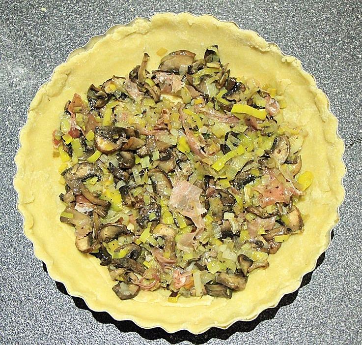 Leeks, mushrooms, and prosciutto in crust