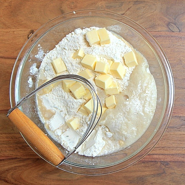 Flour with butter and yeast