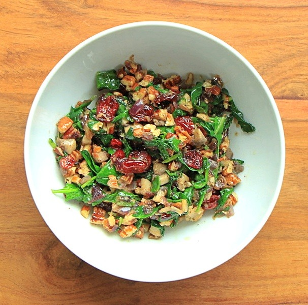 With cranberries and pecans