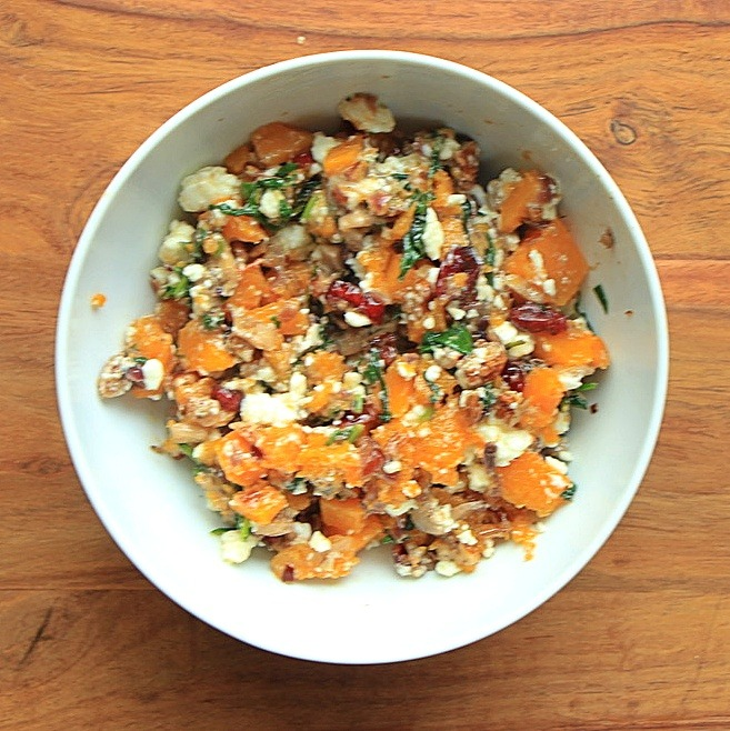 With chopped squash and feta