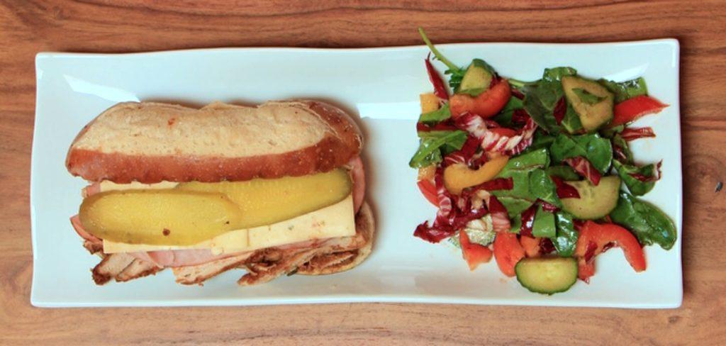 Cubano sandwich with salad