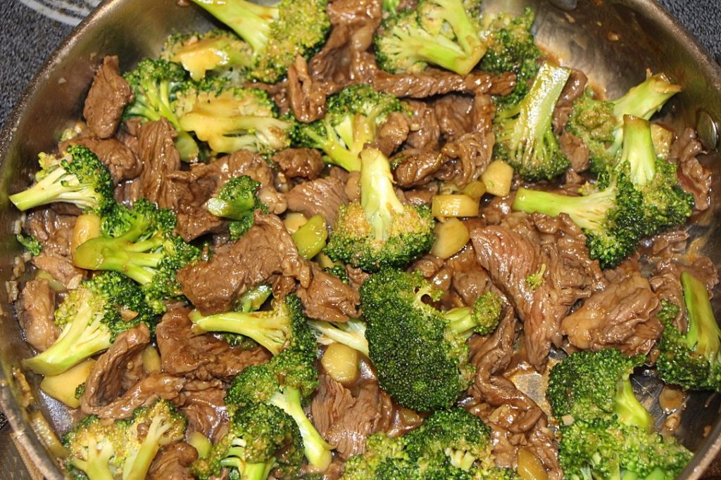 Beef and broccoli in a pan