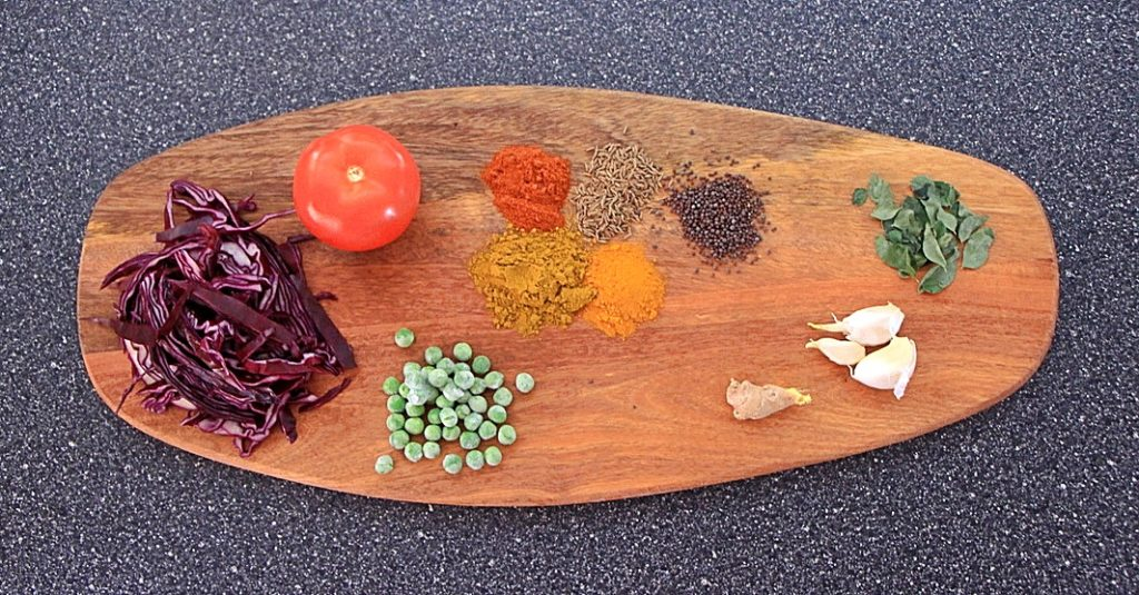 Ingredients for curried purple cabbage