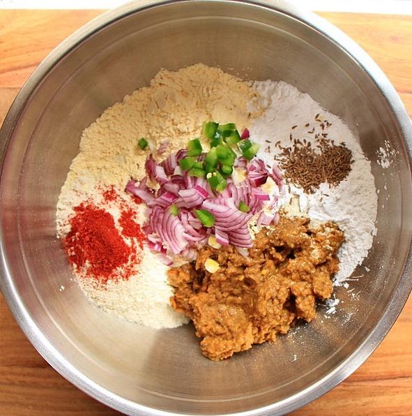 Leftover lentil flatbread ingredients in a bowl