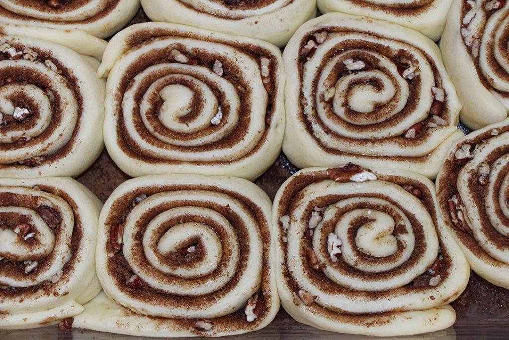 Risen cinnamon buns