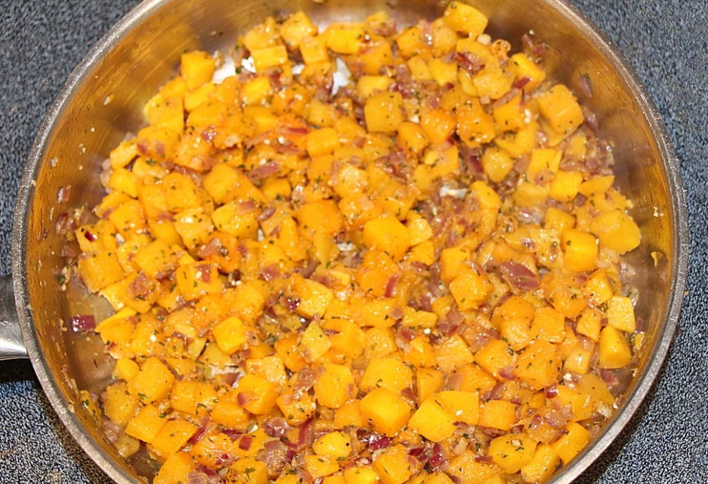 Squash cooking in a pan