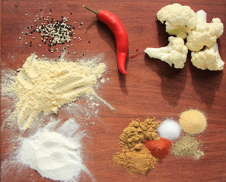 Ingredients for baked cauliflower pakora