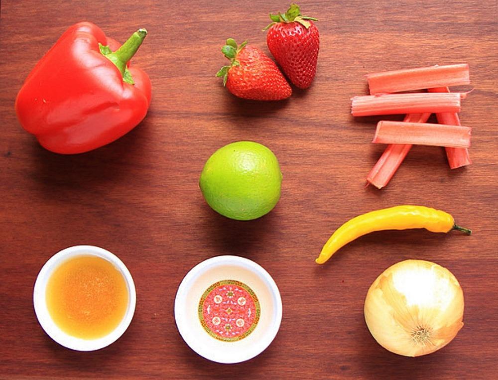 Ingredients for rhubarb strawberry salsa