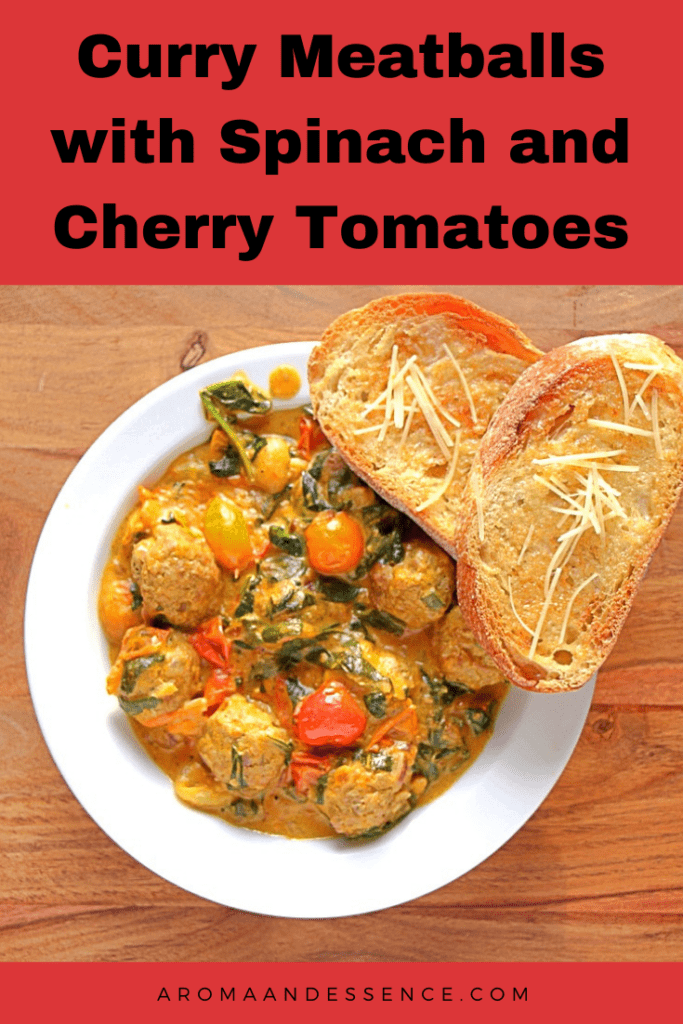 Curry Meatballs with Spinach and Cherry Tomatoes