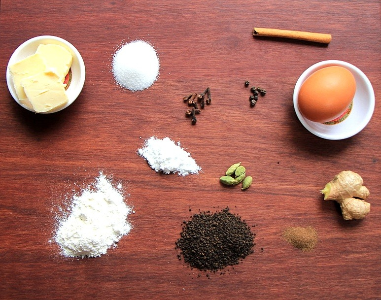 Ingredients for chai infused cookies