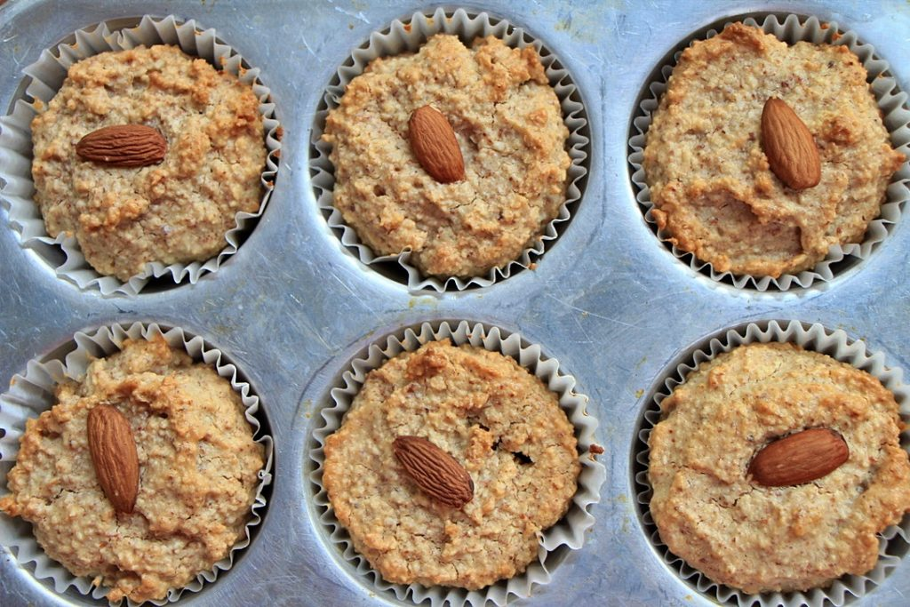 Baked oat and almond muffins