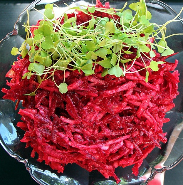 Beet coleslaw with micro greens