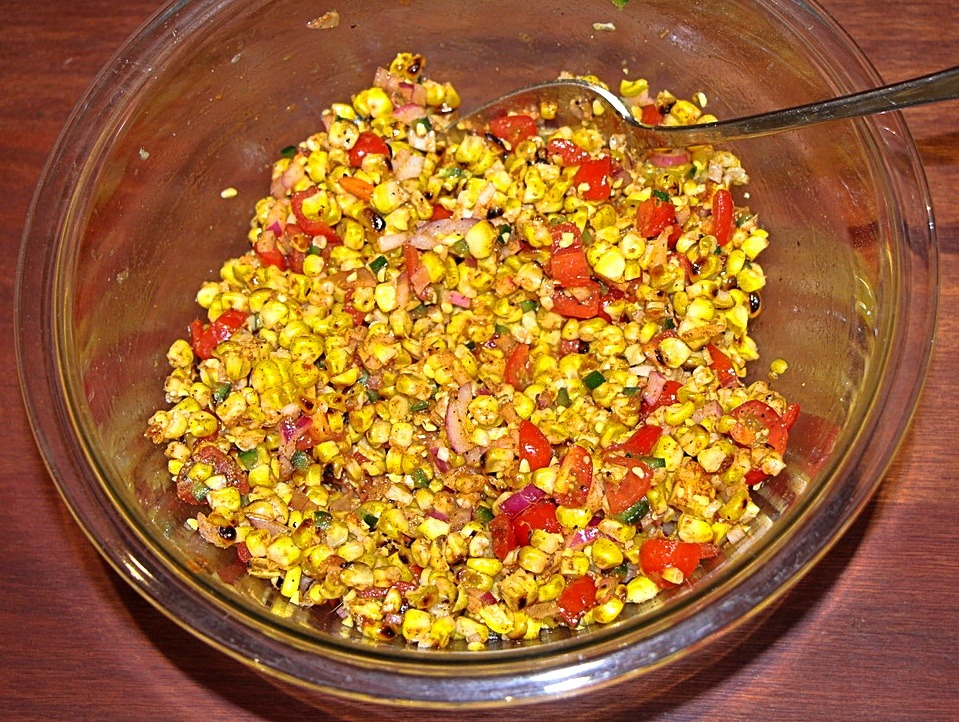 Barbecued corn salad in a bowl