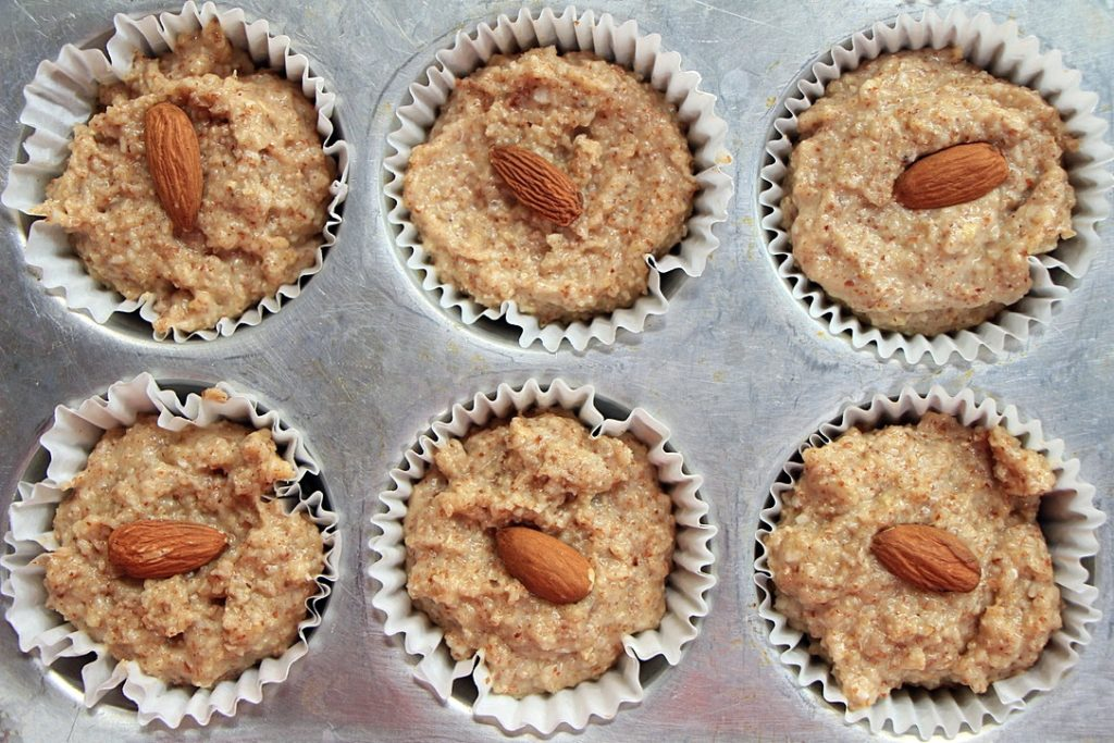 Almond muffins ready to bake